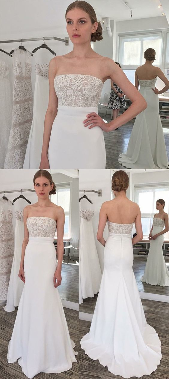 Sheath Strapless Sweep Train Elastic Satin Wedding Dress with Lace BD2175