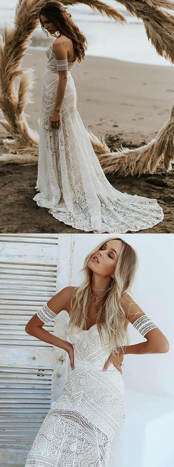 Mermaid Sweetheart Ivory Lace Beach Boho Wedding Dress BD2176