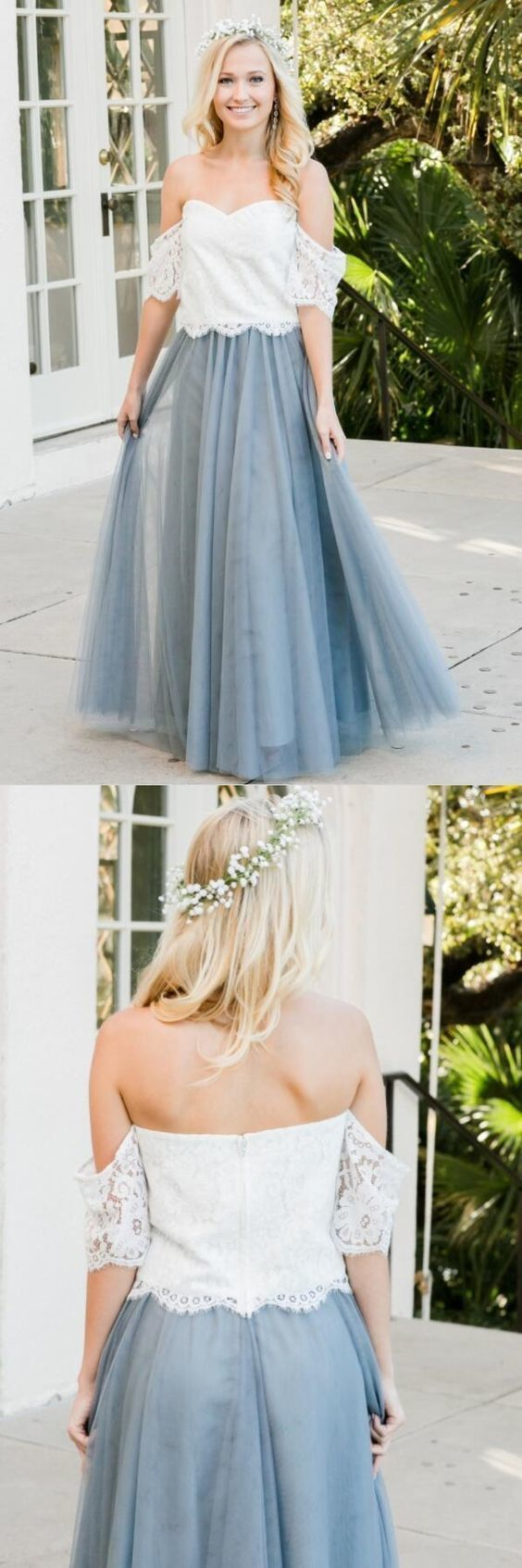 Off the Shoulder Two Piece Long Bridesmaid Dress BD2179