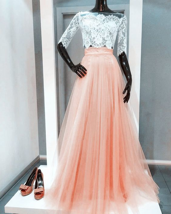 21c5a629a7699 Custom Made Two Piece Prom Dress, White Lace Coral Tulle Half Sleeves A Line