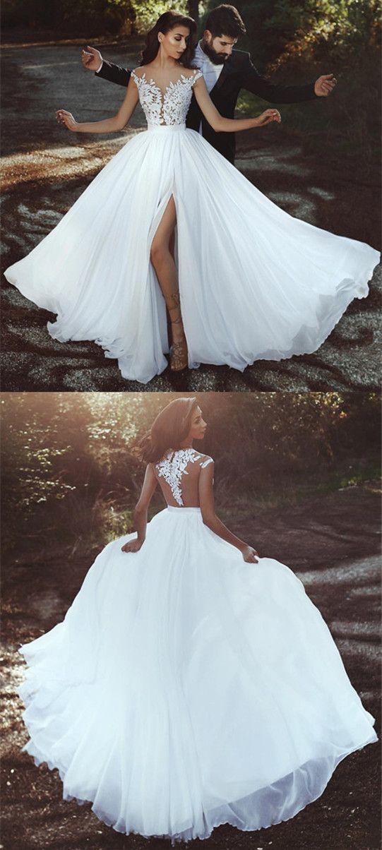 Elegant Lace Appliques Chiffon Long Split Wedding Dresses BD2180