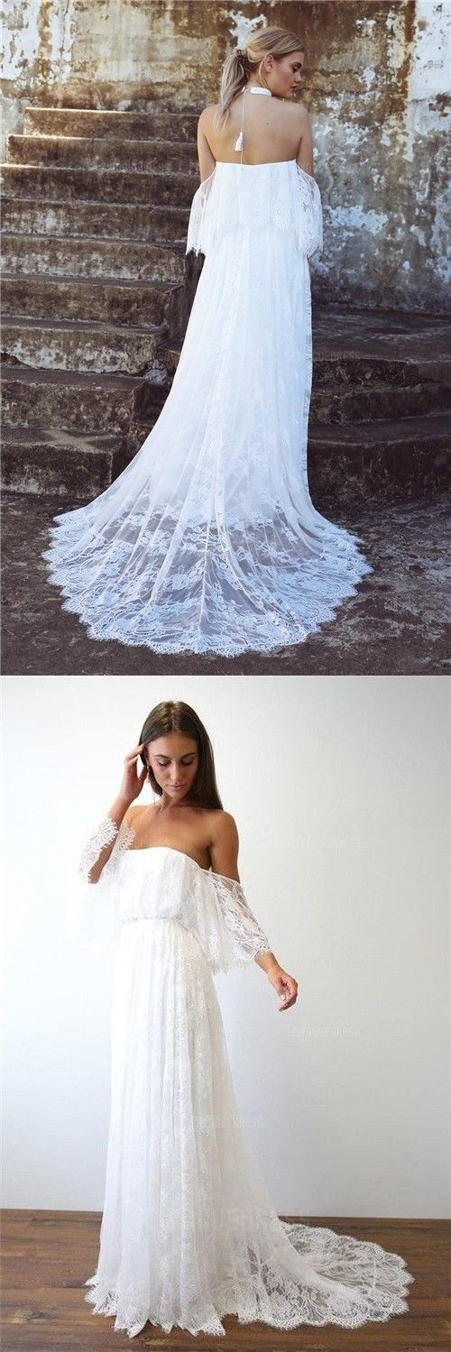 Charming Princess Off Shoulder Sweep Train Lace Beach Wedding Dresses BD2181