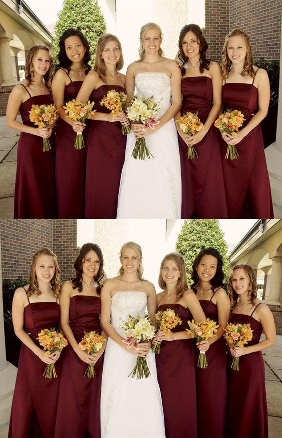 Sheath Spaghetti Straps Long Burgundy Satin Bridesmaid Dress BD2182