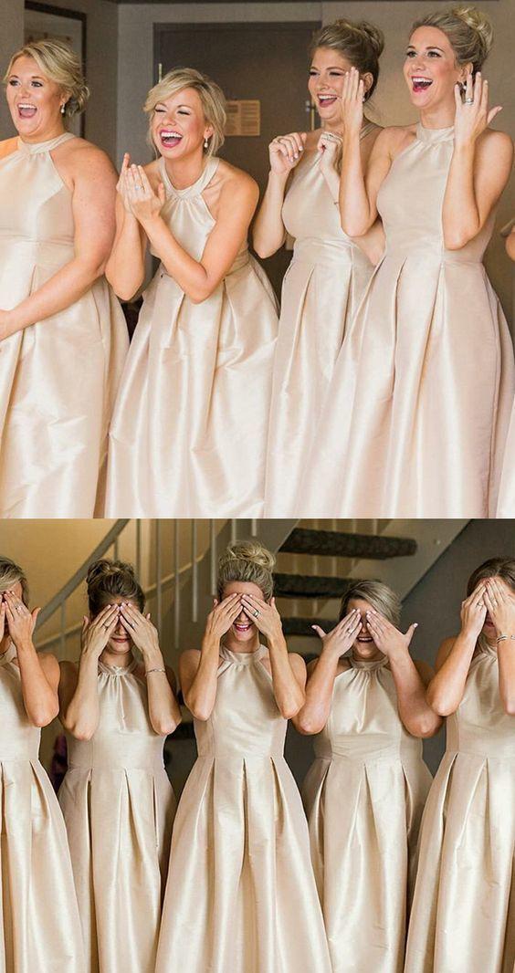 A-Line Round Neck Light Champagne Satin Bridesmaid Dress  BD2183
