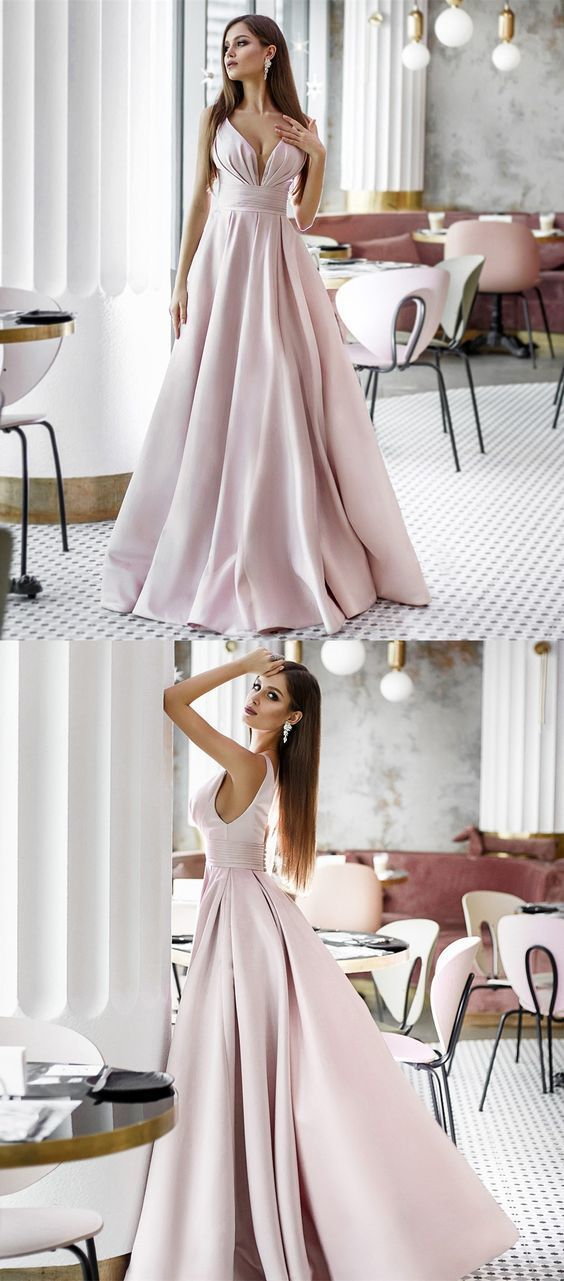 A-Line V-Neck Floor Length Sleeveless Pink Satin Prom Dress  BD2184