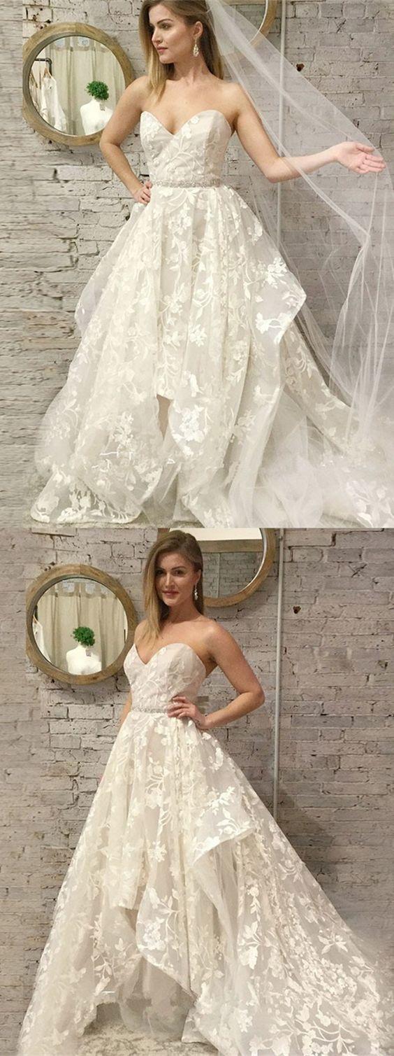 A-Line Sweetheart Floor-Length Light Champagne Lace Wedding Dress BD2185