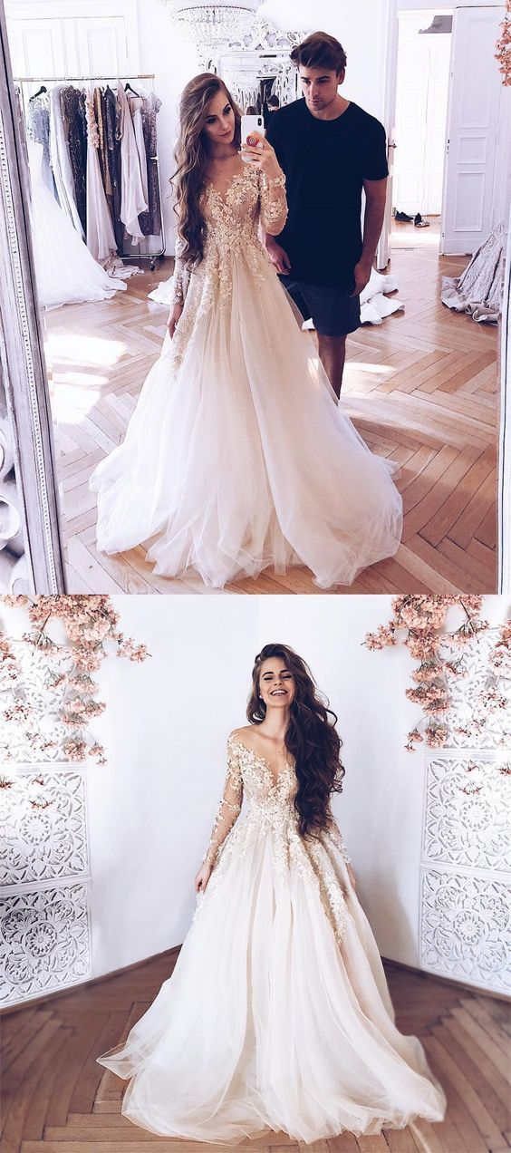 A-Line Illusion Neck Long Sleeves Tulle Wedding Dress with Appliques BD2186