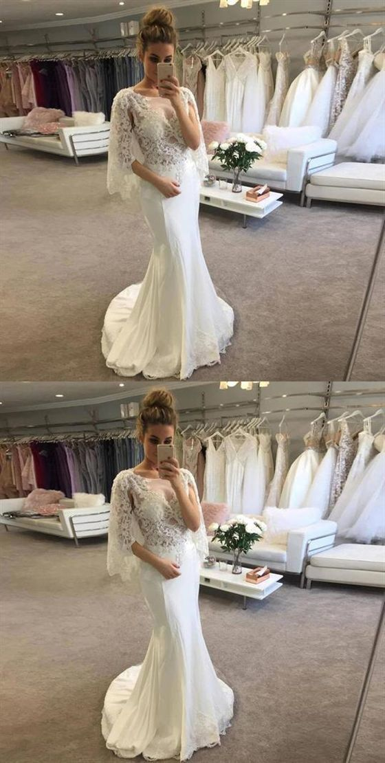 Lace Appliques Scoop Neck Wedding Dresses Mermaid Bridal Dresses BD2187