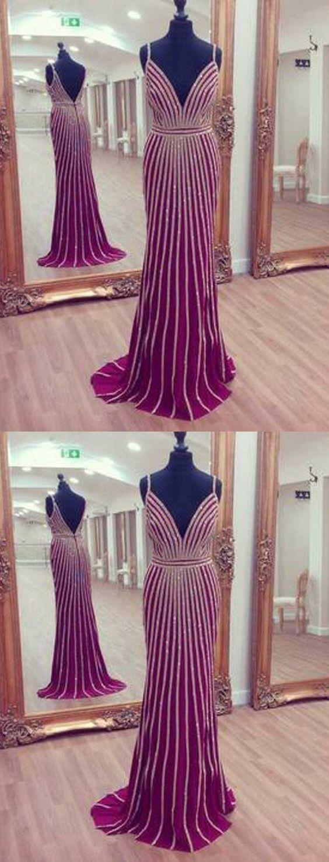 Mermaid Spaghetti Straps Backless Long Fuchsia Satin Prom Dresses with Beading