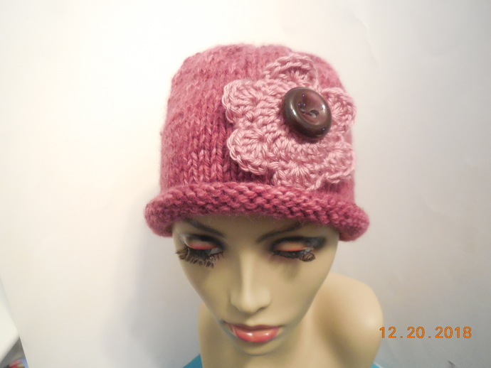 Rolled Brim Flower Beanie Hat