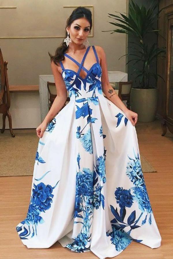 A-Line Deep V-Neck Sweep Train Criss-Cross Straps Blue Printed Satin Prom Dress