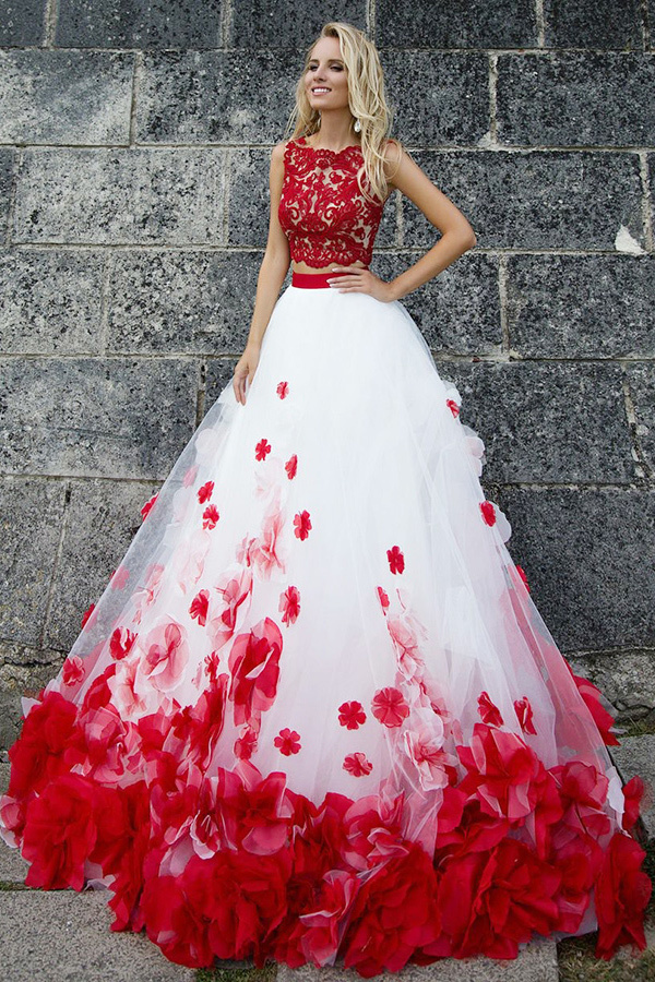 Two Piece Jewel Sweep Train Red Tulle Prom Dress with Appliques Flowers D2632