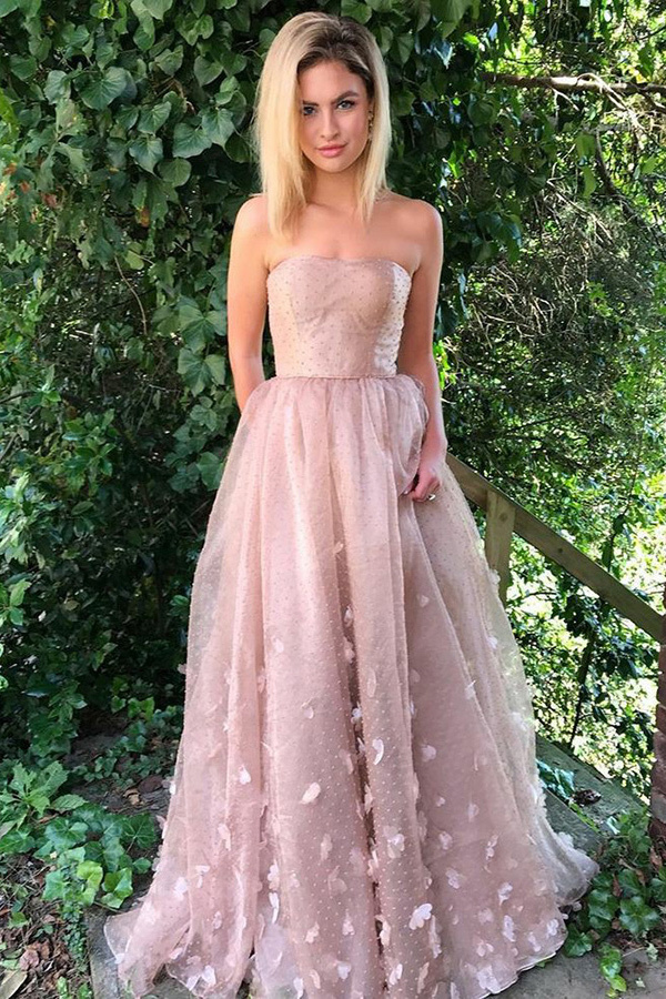 A-Line Sweetheart Swep Train Pink Lace Prom Dress with Appliques Pockets G2654