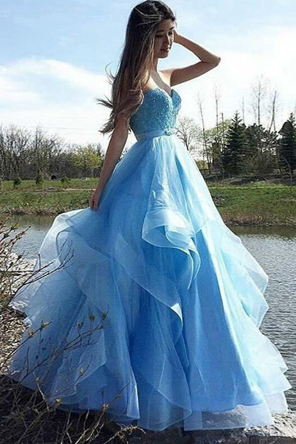 A-Line Sweetheart Floor-Length Blue Tulle Prom Dress with Beading Ruffles V2654