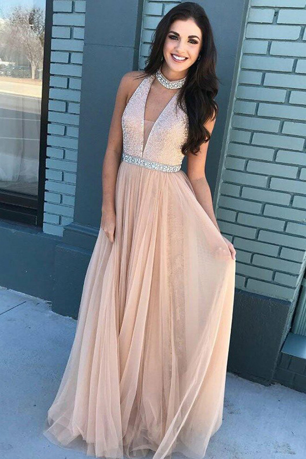 A-Line High Neck Sweep Train Champagne Keyhole Tulle Prom Dress with Beading