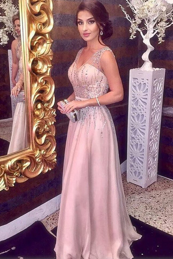 A-Line V-Neck Sweep Train Pink Tulle Sleeveless Prom Dress with Beading F2660