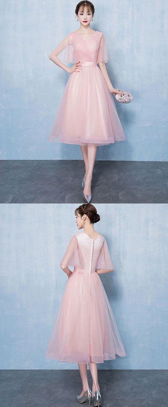 654d9bdf53 Simple v neck tulle short prom dress