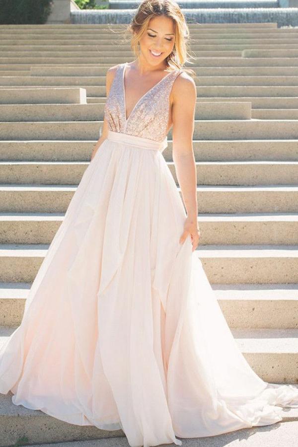 A-Line Deep V-Neck Sweep Train Pearl Pink Chiffon Backless Bowknot Prom Dress
