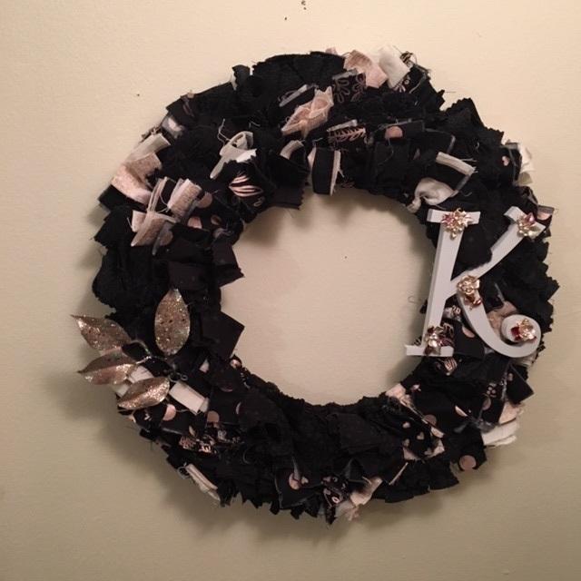 Unique monogrammed Rag Wreath