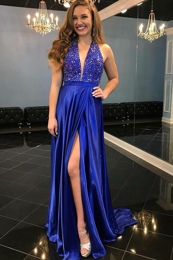 A-Line Deep V-Neck Sweep Train Royal Blue Satin Split Prom Dress with Beading