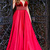 A-Line Deep V-Neck Sweep Train Red Satin Backless Prom Dress with Beading G5396