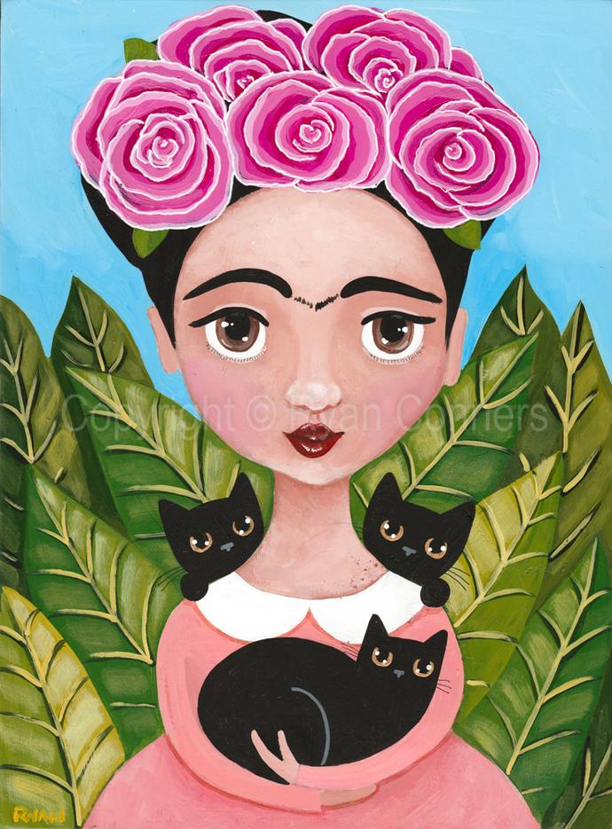 Frida and Her Black Cats Cat Folk Art Print 8x10, 11x14
