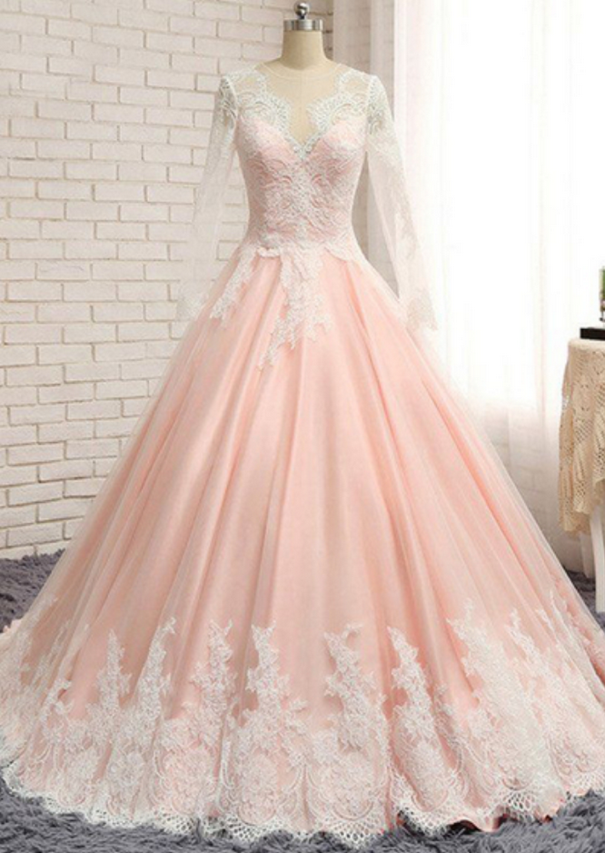 Sexy Ball Gown Blush Pink Lace Prom Dress With Long Sleeve Fashion Women Evening
