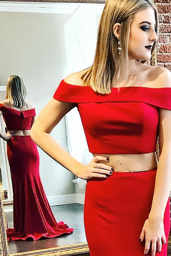 Two Piece Off-the-Shoulder Sweep Train Red Stretch Satin Sleeveless Prom Dress