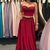 Two Piece Sweetheart Sweep Train Dark Red Satin Prom Dress with Appliques F2668