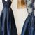 A-Line Deep V-Neck Floor-Length Navy Blue Satin Sleeveless Prom Dress with