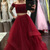 Two Piece Off-the-Shoulder Floor-Length Dark Red Tulle Sleeveless Prom Dress
