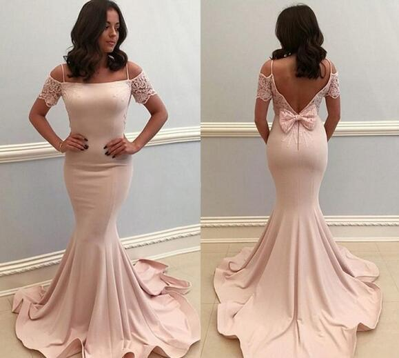 Sexy Spaghetti Strap Mermaid Prom Dress With Short Sleeve , Custom Made Women