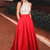 A-Line Jewel Floor-Length Red Satin Sleeveless Prom Dress with Beading Pockets