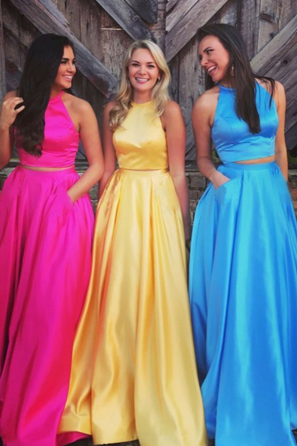 Two Piece Jewel Sweep Train Yellow Satin Open Back Prom Dress with Pockets G5268