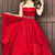 A-Line Sweetheart Sweep Train Red Satin Sleeveless Prom Dress with Beading