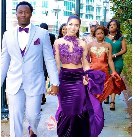 IIIusion Purple Velvet Two Pieces Prom Dresses Mermaid 2019 African Lace