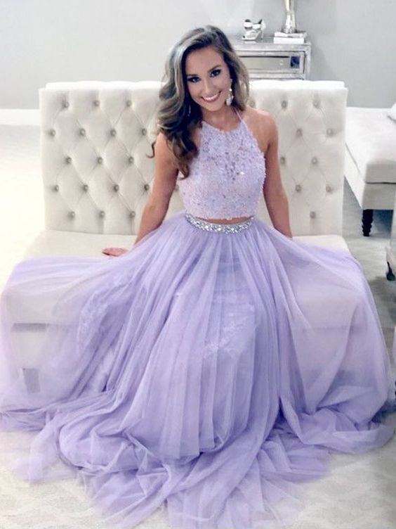 e2296ffe75 A Line Two Piece Halter Lavender Lace Long Prom Dresses with Beading