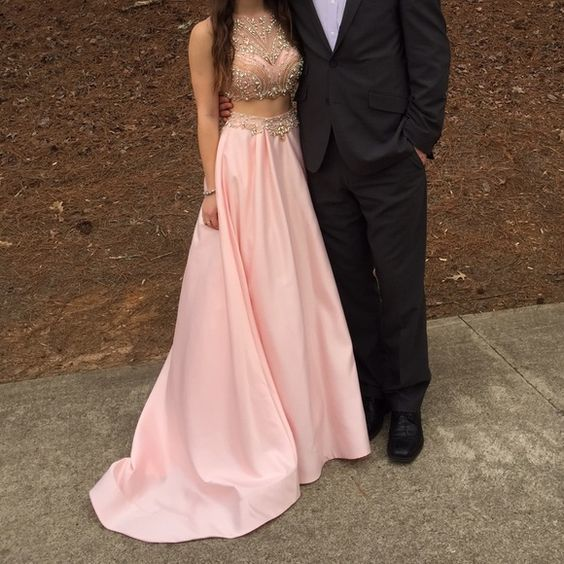 Luxury Beaded Corset Two Pieces Prom Dress, Pink Satin Prom Dress, Two Pieces