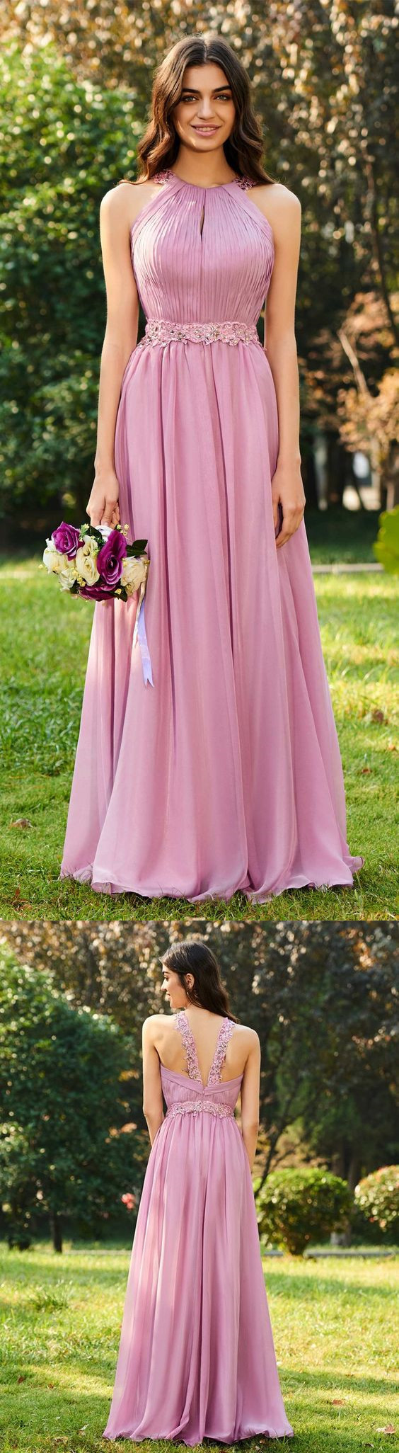 Beaded Halter Pleats Long Bridesmaid Dress