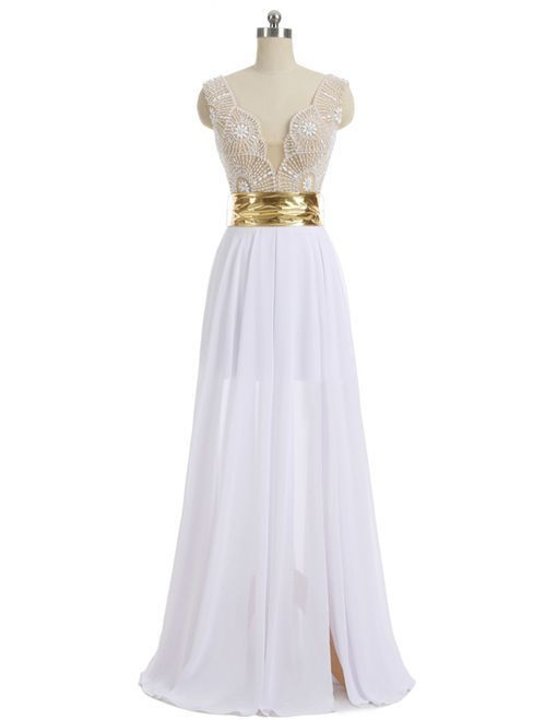 b04f40db1d75 A-line V-neck Cap Sleeves Floor Length Chiffon by Hiprom on Zibbet