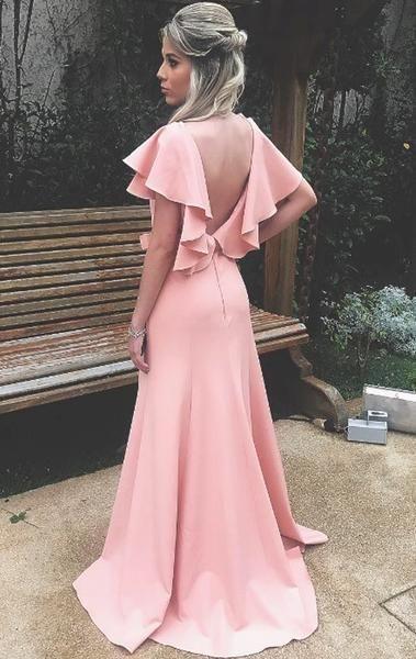 V Neck Sheath Blush Pink Long Prom Dress Jersey Formal Evening Gown