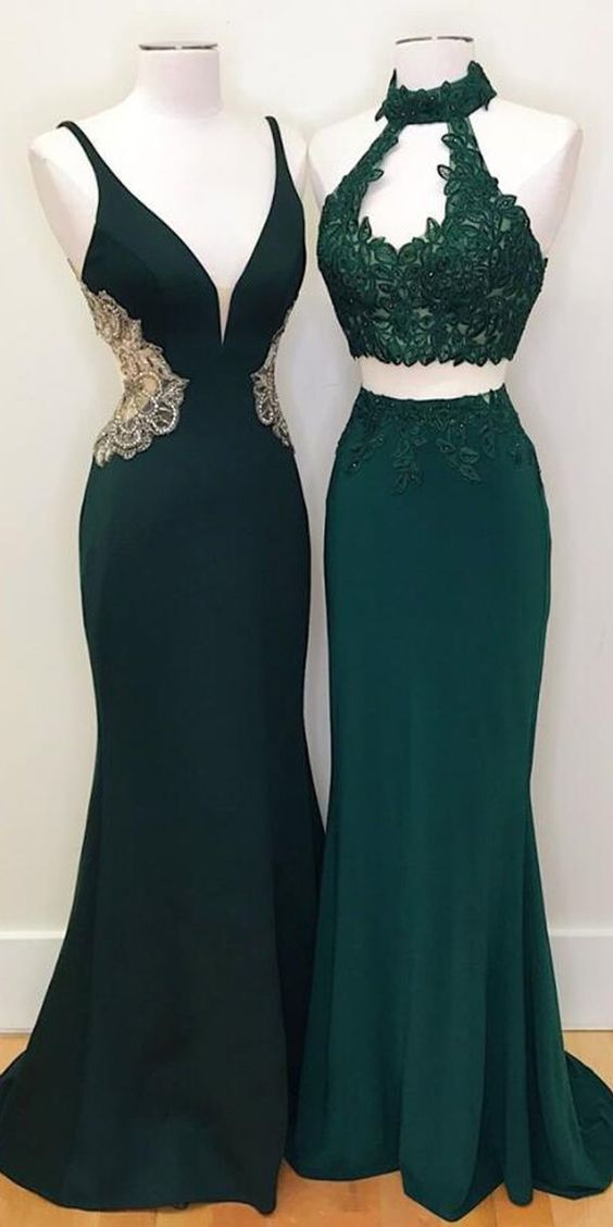 Teal Green Mermaid Evening Party Long Prom Dresses