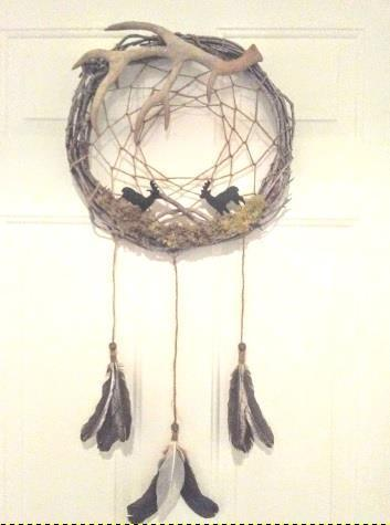 Adirondack Style Hand Made Dream Catcher with Antler