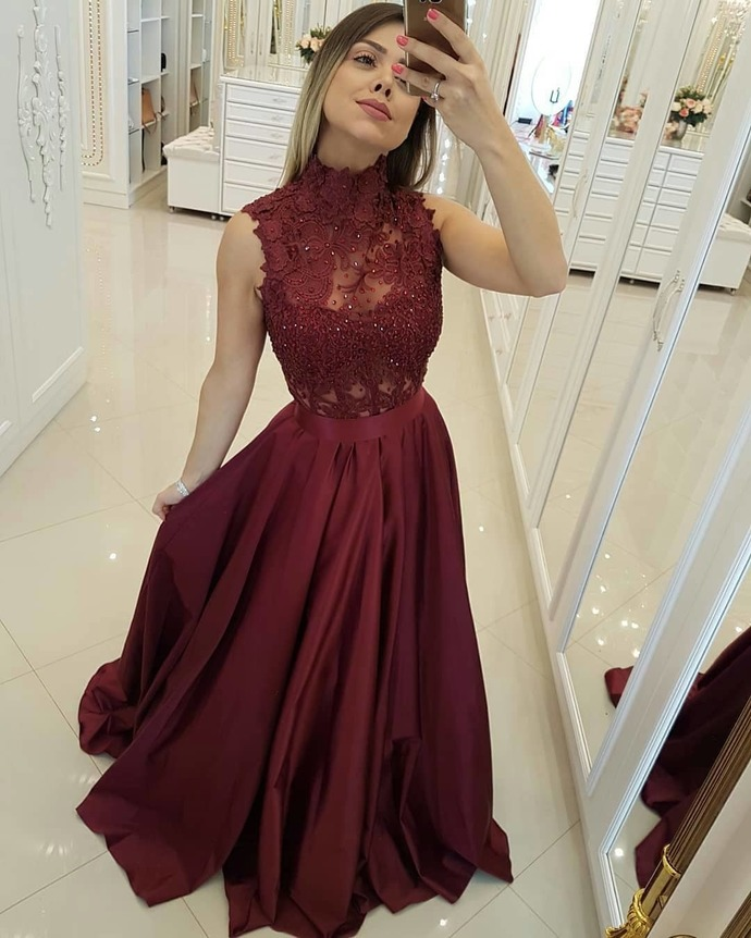 Burgundy Lace Prom Dress, Sexy A Line Prom Party Dresses, Women Party Gowns ,