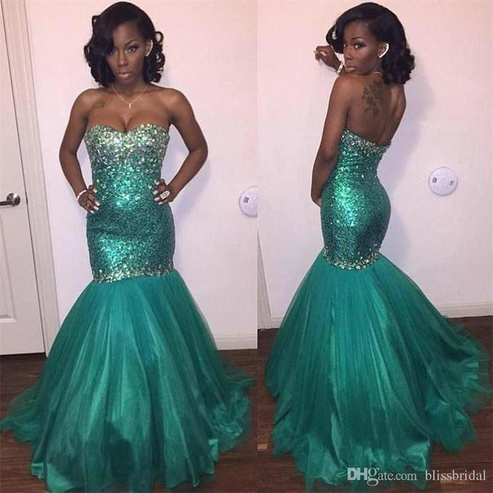 Sparkly Turquoise Prom Dresses Strapless Beaded Sequined Evening Gowns BD2191