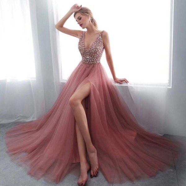 Charming Beaded V-Neck Long Prom Dress Off Shoulder Women Party Gowns Plus  Size Formal Evening Dress With Slit