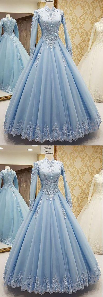 High Neck Tulle Muslim Evening Dress, A Line Women Prom Dress, Long Prom Gowns