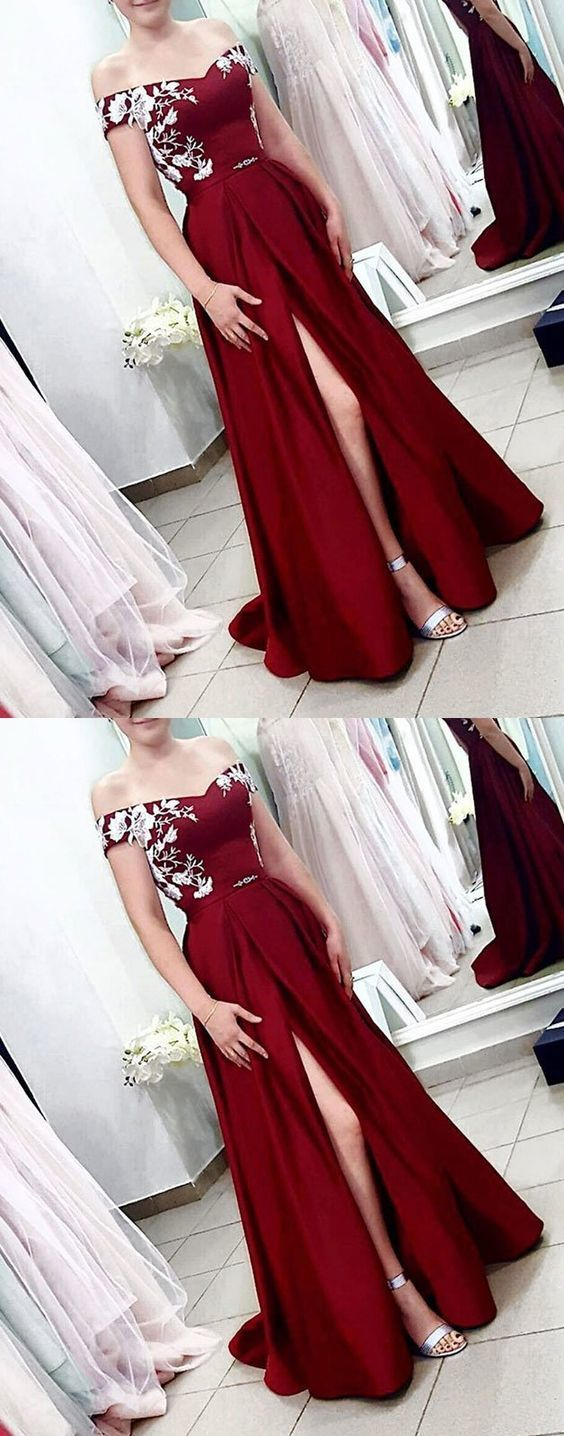 Sexy A Line Burgundy Satin Prom Dress, Lace Prom Gowns , Formal Evening Dress