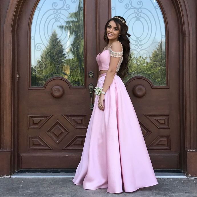 Elegant Pink Satin A Line Long Prom Dress Beaded Off Shoulder Prom Party Gowns