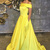 A-Line Off-the-Shoulder Swewep Train Yellow Satin Sleeveless Prom Dress with